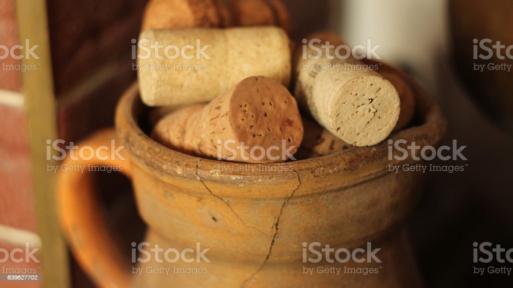 Corks in old pitcher stock photo