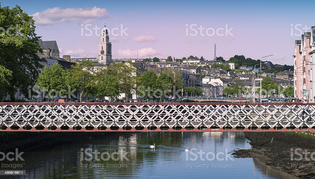 Cork's St Vincent's Bridge with Shandon Bells in the Distance stock photo