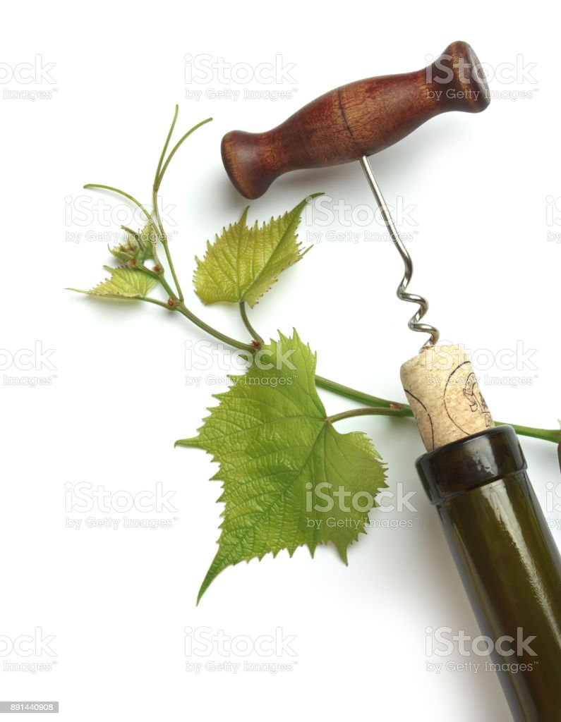 corkscrew and cork stock photo