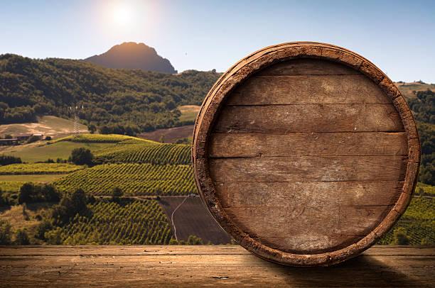 Korkenzieher und Holz Fass, Weinberg auf Hintergrund – Foto