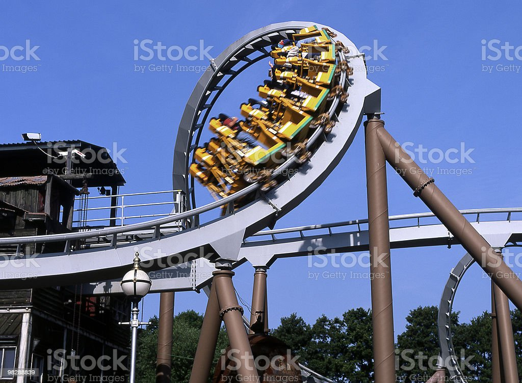 Corkscrew rollercoaster at Drayton Manor Park. Staffordshire. England royalty-free stock photo
