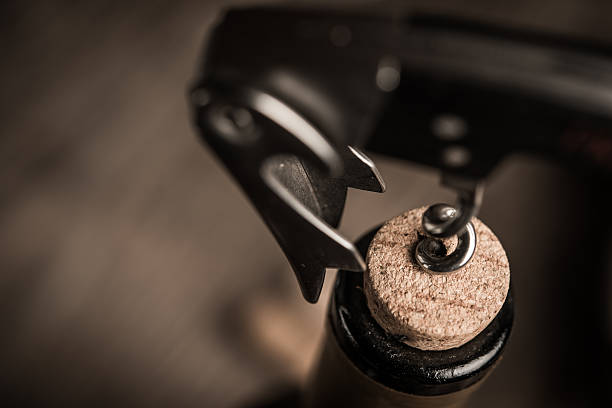 Corkscrew screwed into the cork in the bottle of wine. – Foto
