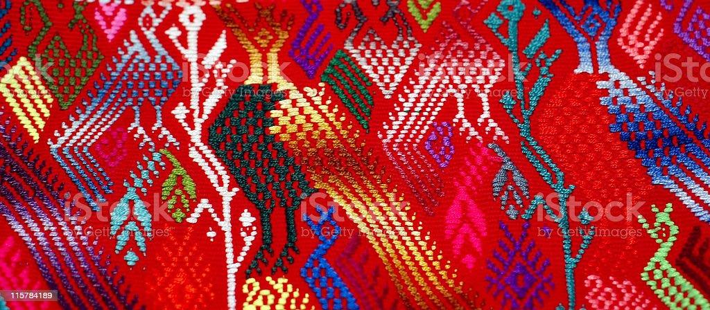 Corn bird abstract detail Guatemalan textile stock photo