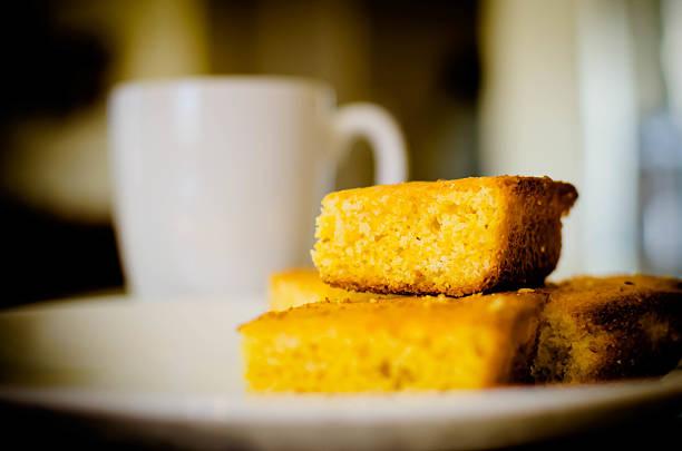 Corn bread and coffee stock photo