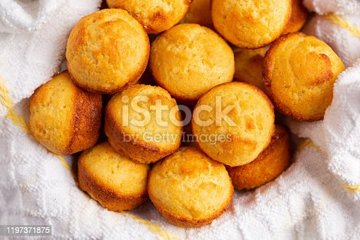 Close up of freshly baked homemade corn bread muffins