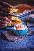 Corn Bread with Fresh Corn and Jalapenos with Harissa Yogurt
