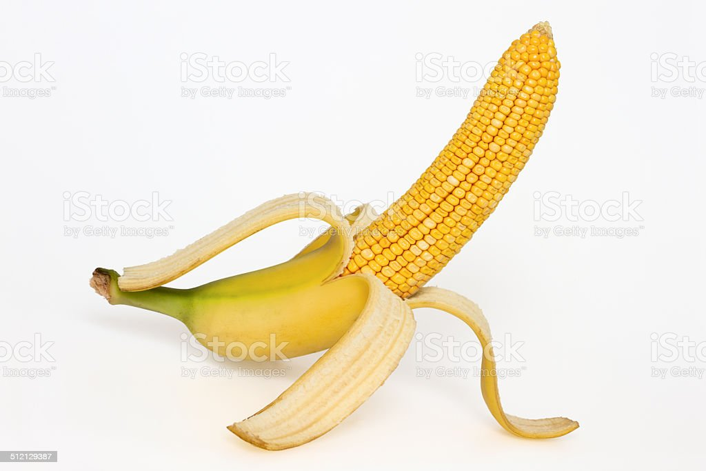 Corn cob with banana skin stock photo