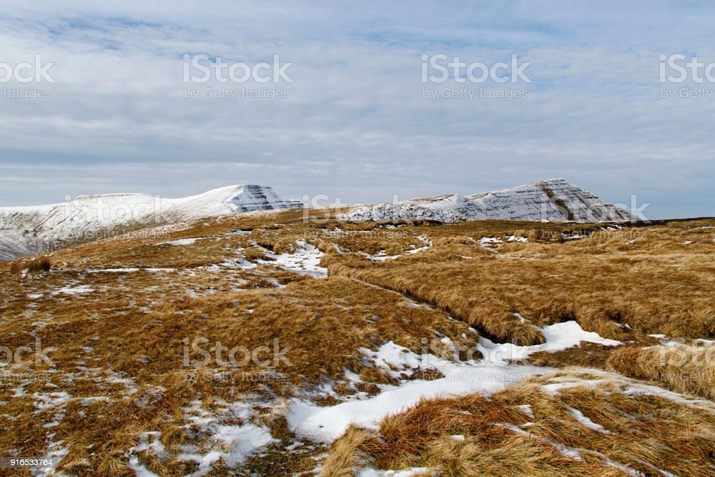 Corn Du, Pen y Fan and Cribyn mountain summits in the Brecon Beacons National Park stock photo