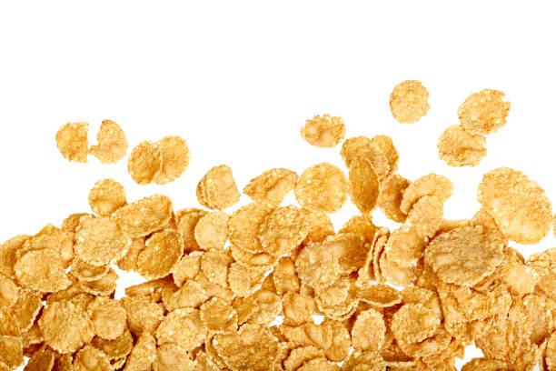 antecedentes de copos de maíz blanco - corn flakes fotografías e imágenes de stock
