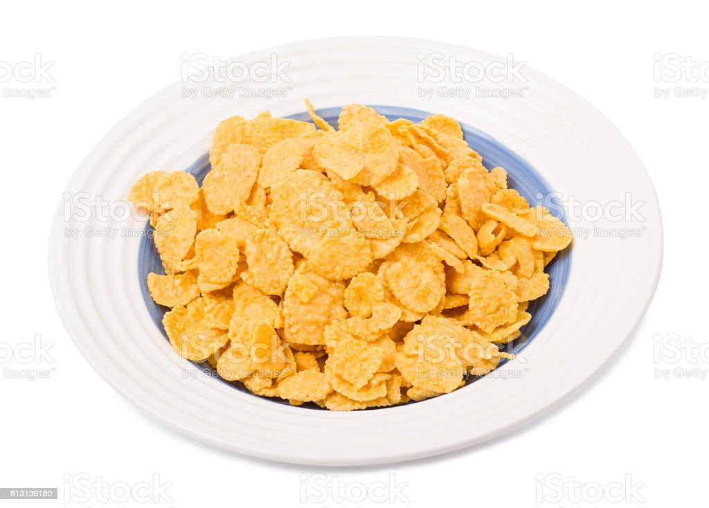 Corn flakes in a plate stock photo