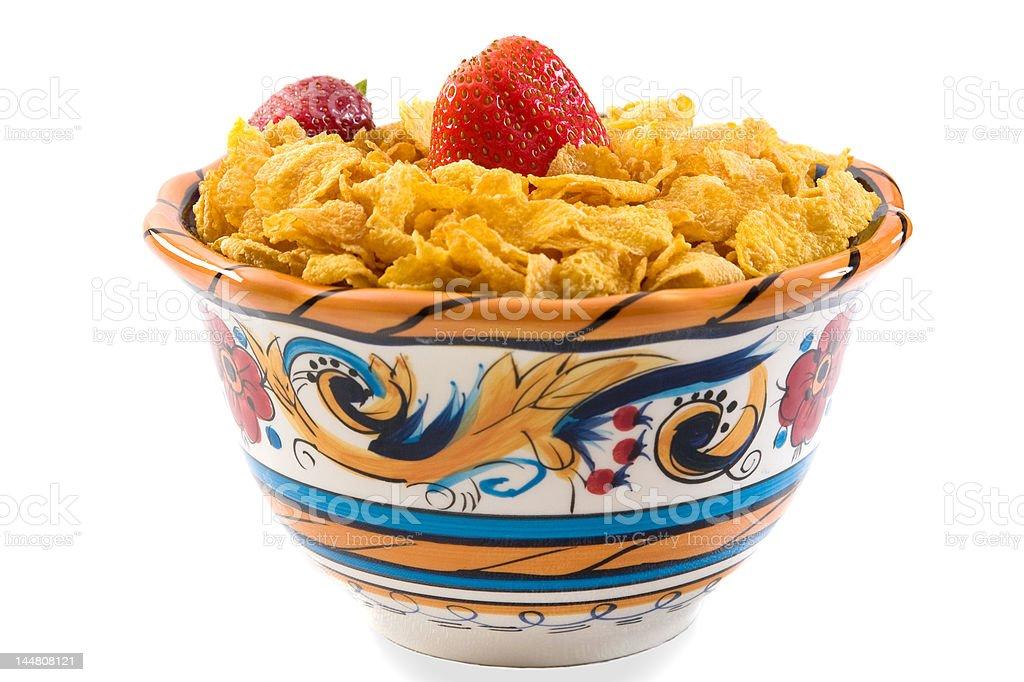 Corn Flakes with Strawberries stock photo