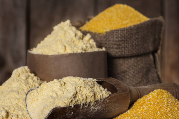 Corn flour and corn grits stock photo