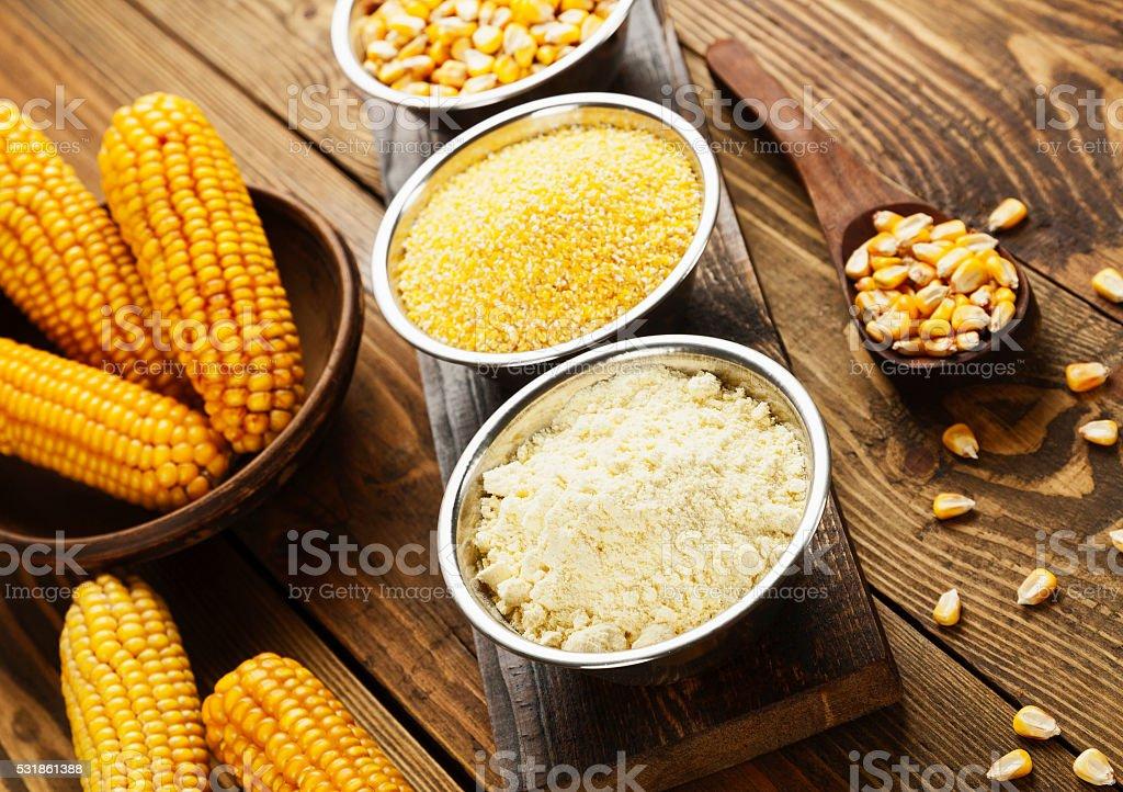 Corn flour, cereals and grains stock photo