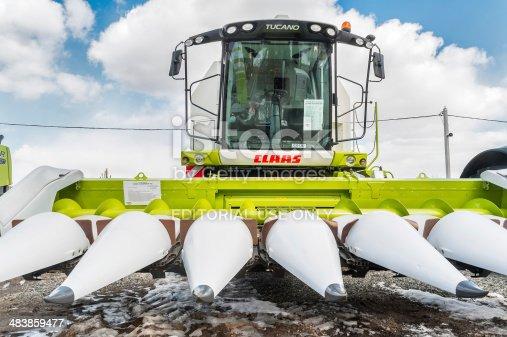 istock Corn harvester. Tyumen. Russia 483859477