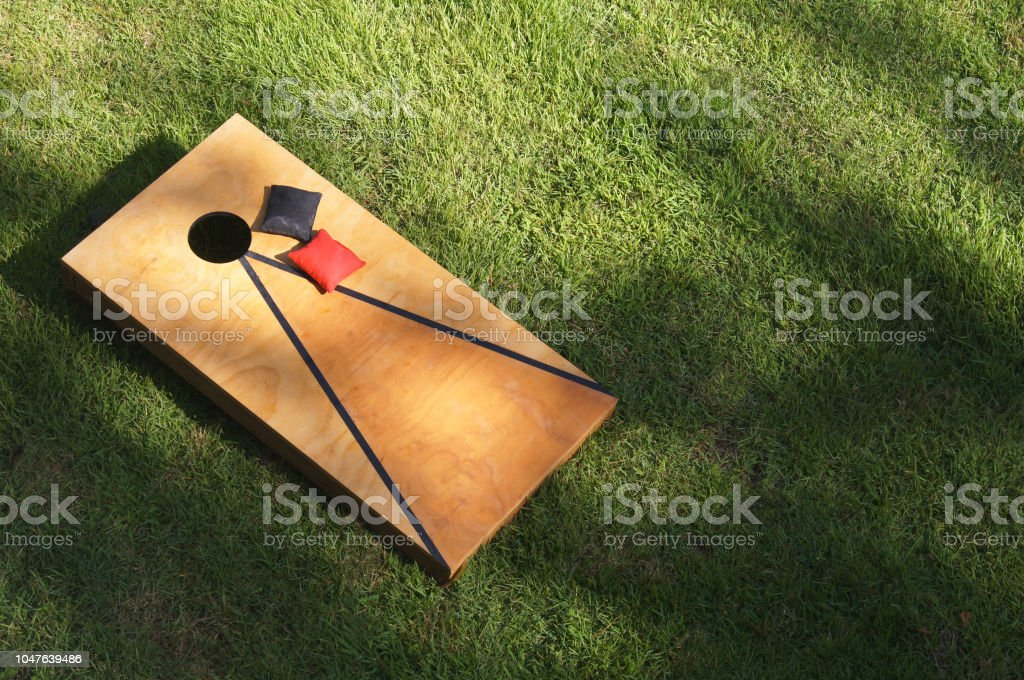 Corn Hole Game Bean Bag Toss -  Sports Tailgating Event stock photo