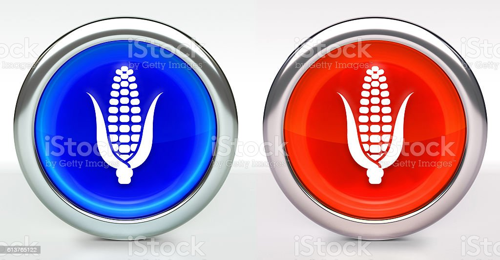 Corn Icon on Button with Metallic Rim stock photo