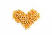 yellow dried corn in heart shape
