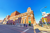 Philadelphia, United States - May 5, 2015: Corn National Bank in Chestnut Street in Philadelphia of Pennsylvania, USA. Tourists in the street. Street view.
