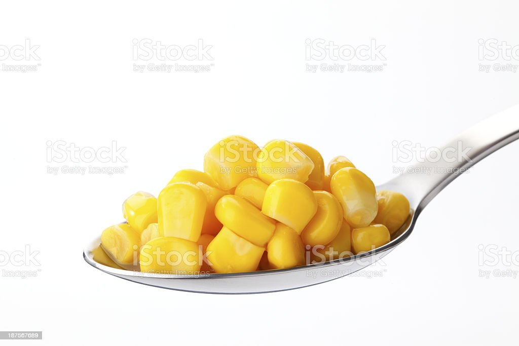 Corn on spoon royalty-free stock photo