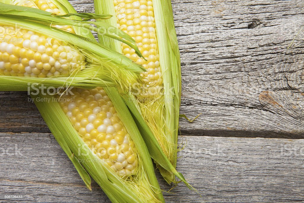 corn on wood stock photo