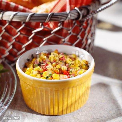 Bowl of corn salad close-up