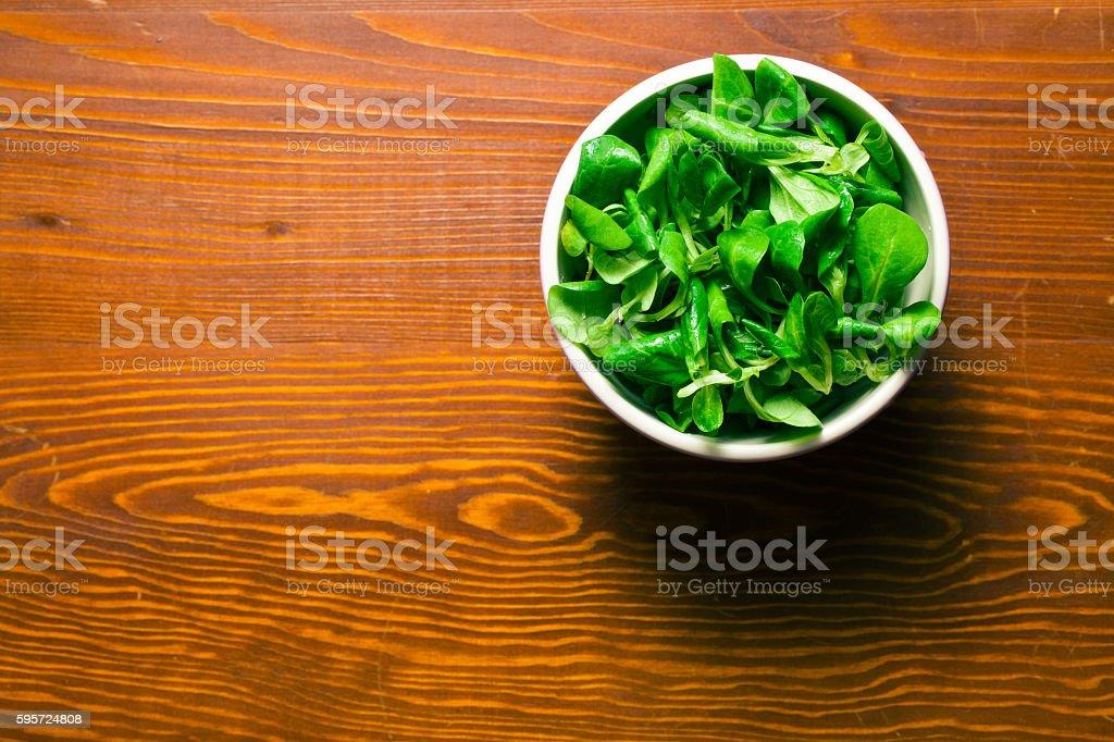 corn salad, lamb's lettuce stock photo