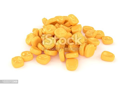 corn, seeds, white background, isolated, 3d rendering, yellow