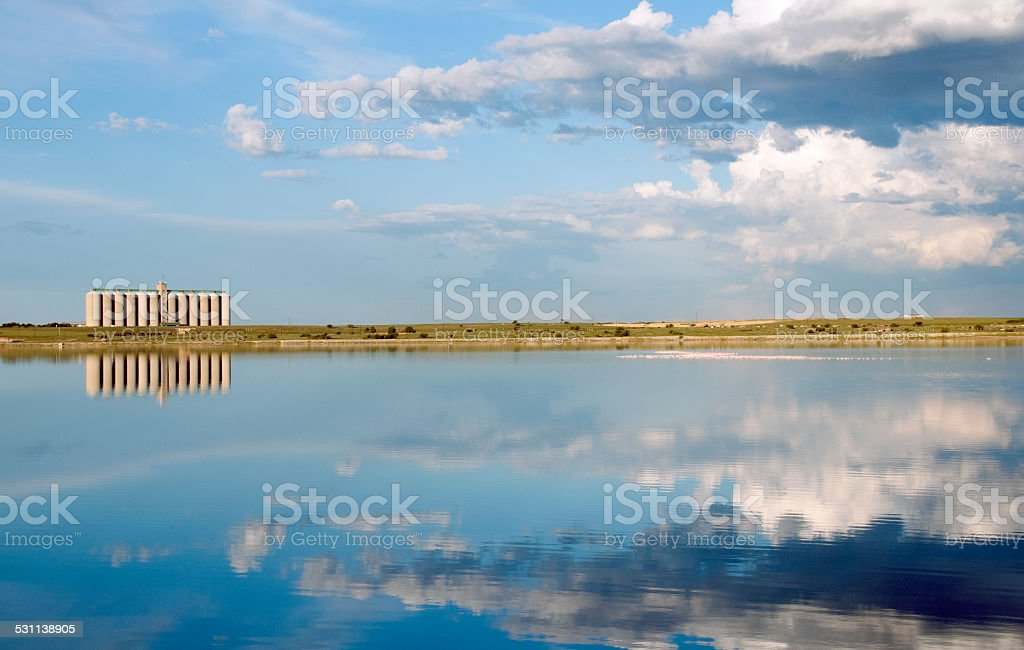 Corn Silo across lake with reflection and flamingo in water stock photo
