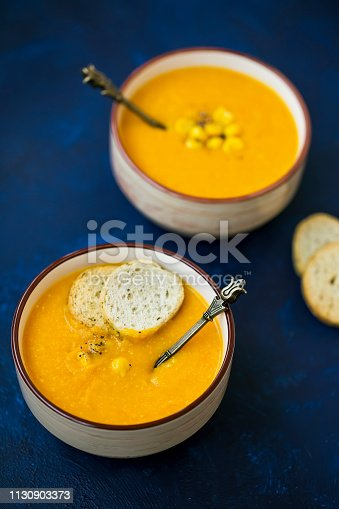 Corn soup, creamy vegetables soup with corn , healthy soup in bowls