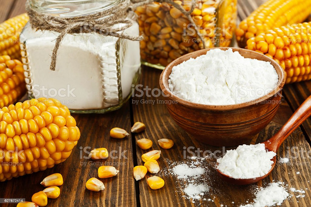Corn starch on the table stock photo