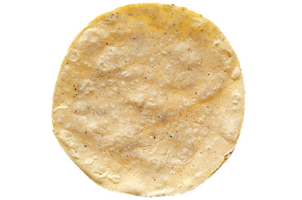 corn tortilla on white background - tortilla stock photos and pictures