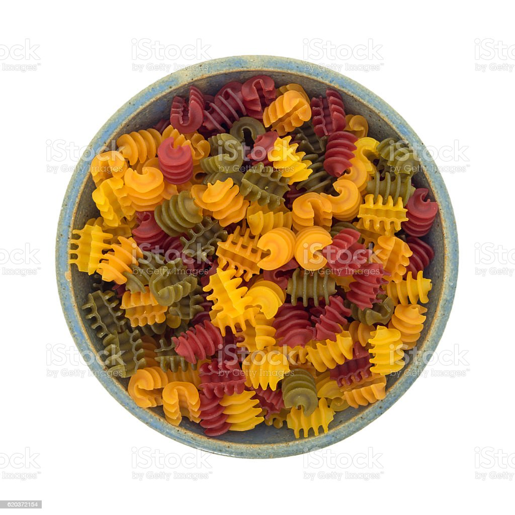 Corn vegetable radiatore pasta in a bowl zbiór zdjęć royalty-free