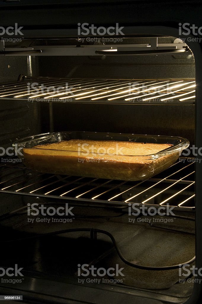 Cornbread or Cake in Oven royalty-free stock photo
