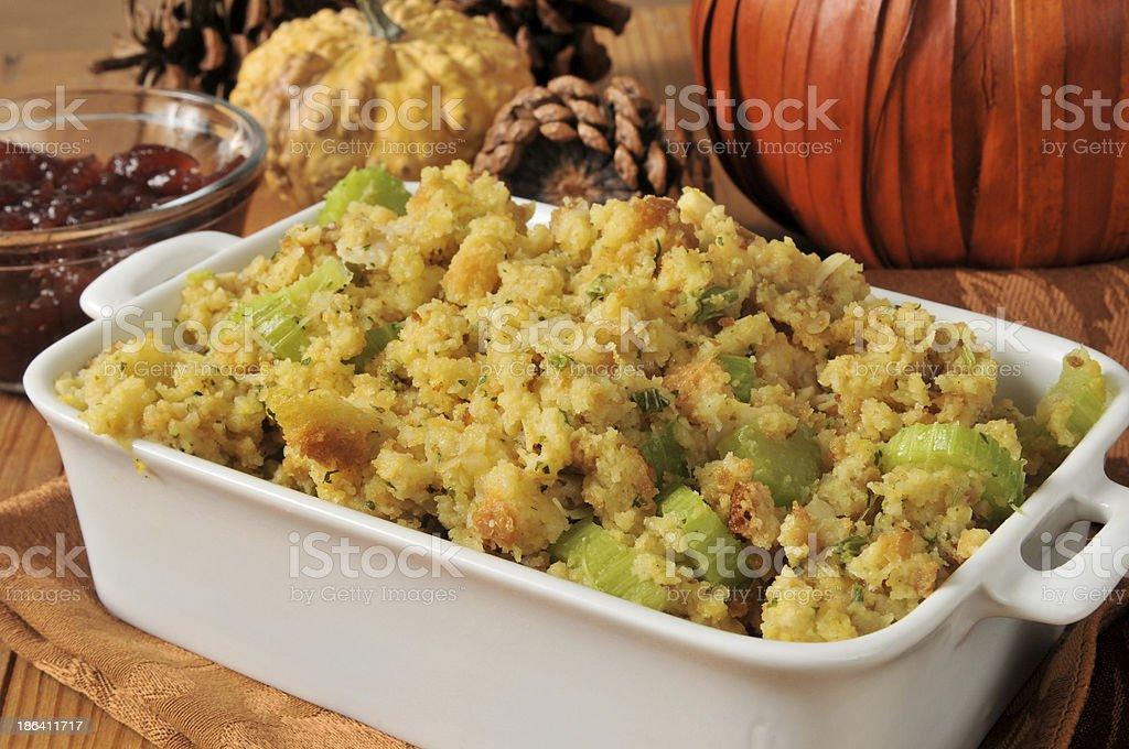 Cornbread stuffing stock photo