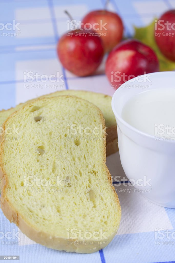 Cornbread with milk and apples royalty-free stock photo