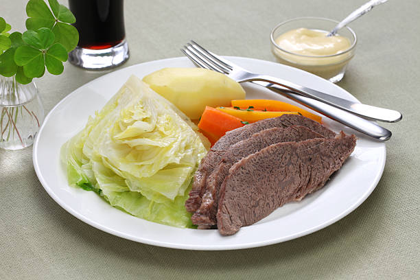 corned beef and cabbage - st patricks day food stock photos and pictures