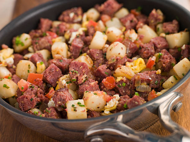 Corned Beef Hash in a Frying Pan stock photo