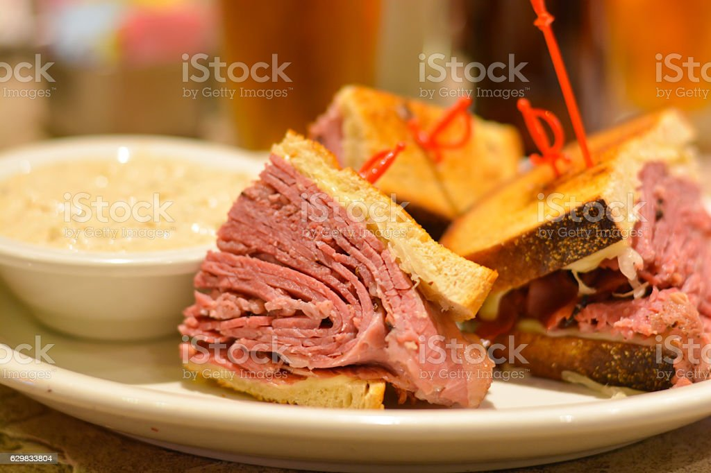 Corned beef pastrami sandwich close up stock photo