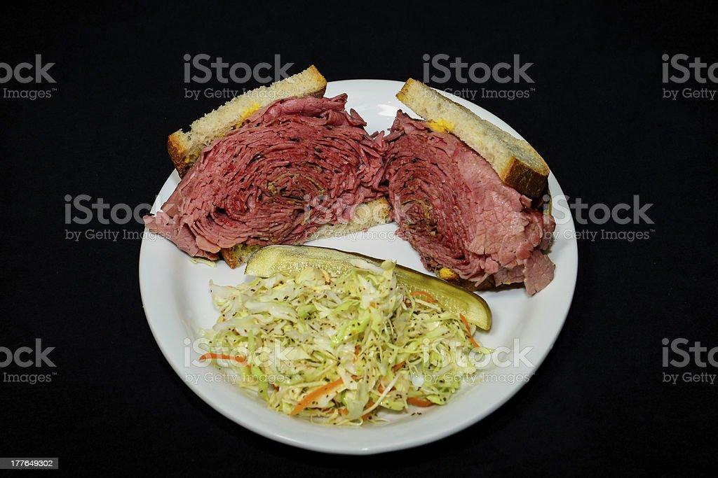 Corned beef sandwich, Pastrami stock photo