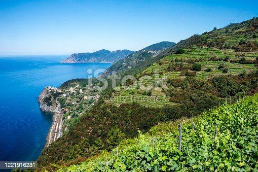 Aerial view of train tracks and Corneglia village from Volastra, Cinque Terre, Italian Riviera, Liguria, Italy, Europe