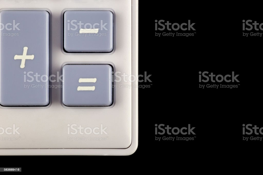 Corner and Buttons of Calculator on Black Background stock photo
