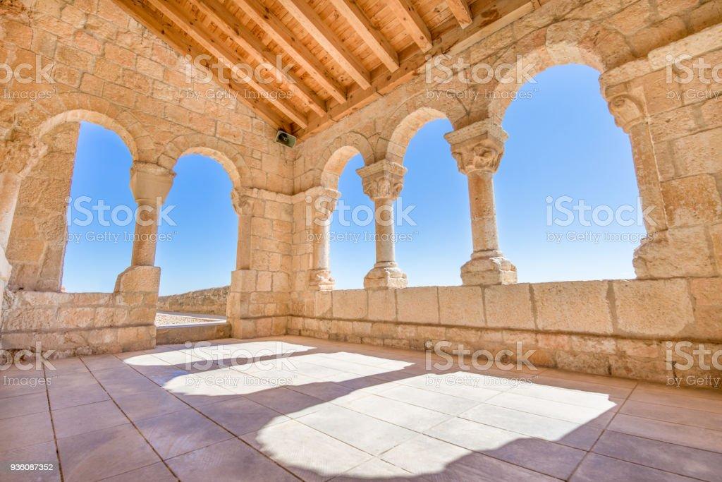corner archs in church Virgin Rivero in San Esteban de Gormaz stock photo