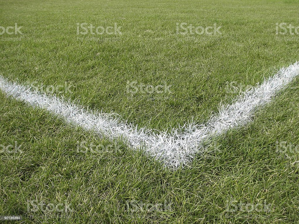 Corner boundary line of a playing field royalty-free stock photo
