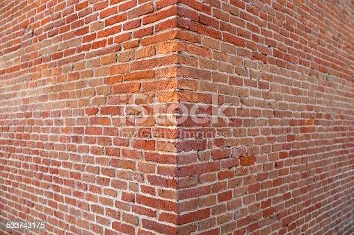 Corner brick wall.