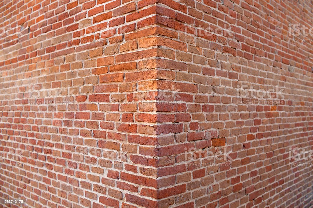 Corner brick wall stock photo