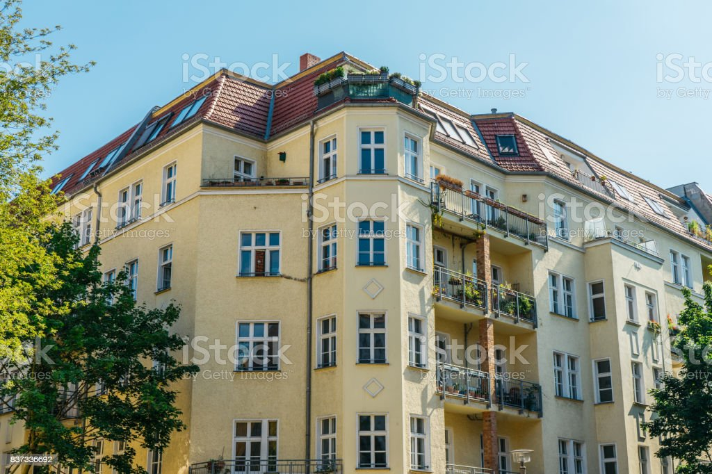 corner building at prenzlauer berg with clean sky stock photo