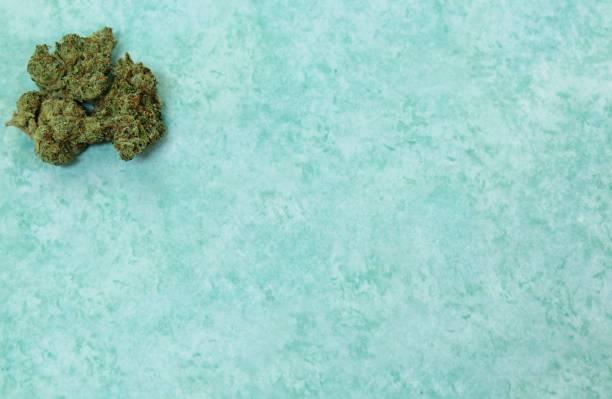 Corner cannabis shot with aqua background stock photo