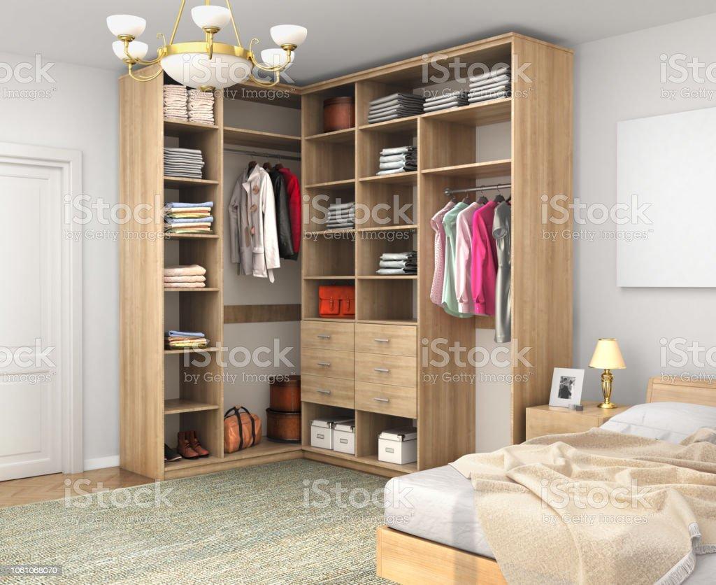 Ecke Schrank Im Zimmer Gegen Eine Weisse Wand 3d Illustration