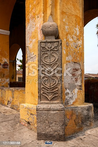 Corner detail in the Municipal Water Tank called De la Unión in the colonial city of La Antigua Guatemala. Central America.