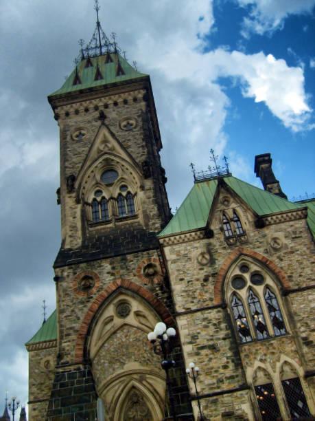 Corner Facade on Ottawa Parliament Building stock photo